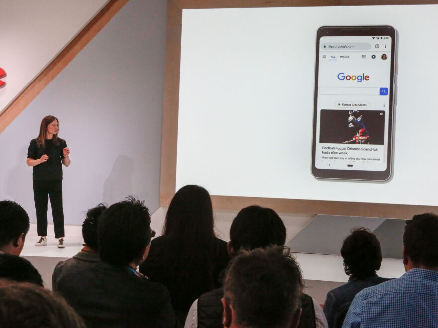 Emily Moxley, Director of Product for Search, speaks during a demostration of Google's newest search features at an event in 2018. Google was sued for the third time in two months on Thursday over its dominance in search and search advertising.