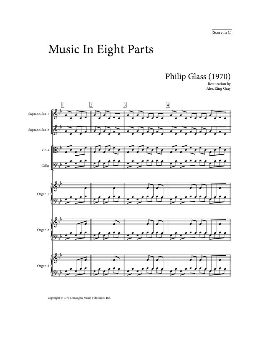 Alex Gray's transcription into standard notation. Courtesy of Dunvagen Music Publishers.