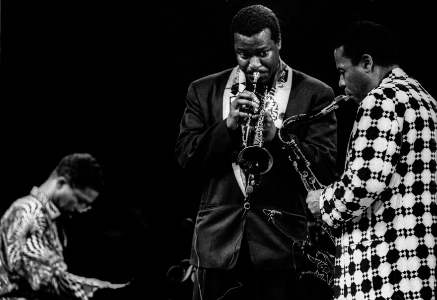 Wallace Roney (center) performing in 1992 with Herbie Hancock (left) and Wayne Shorter perform during the North Sea Jazz festival. Roney died on March 31 at the age of 59, of complications from coronavirus.
