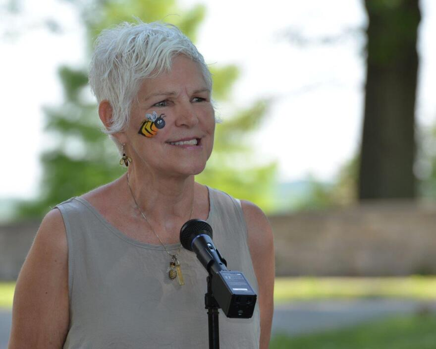 Phyllis Stiles, founder and director of Bee City USA, speaks at the Pollinator Expo held at the Wright Brothers Memorial located outside Wright-Patterson Air Force Base, Ohio, June 21. Stiles was named the North American Pollinator Protection Campaign's U