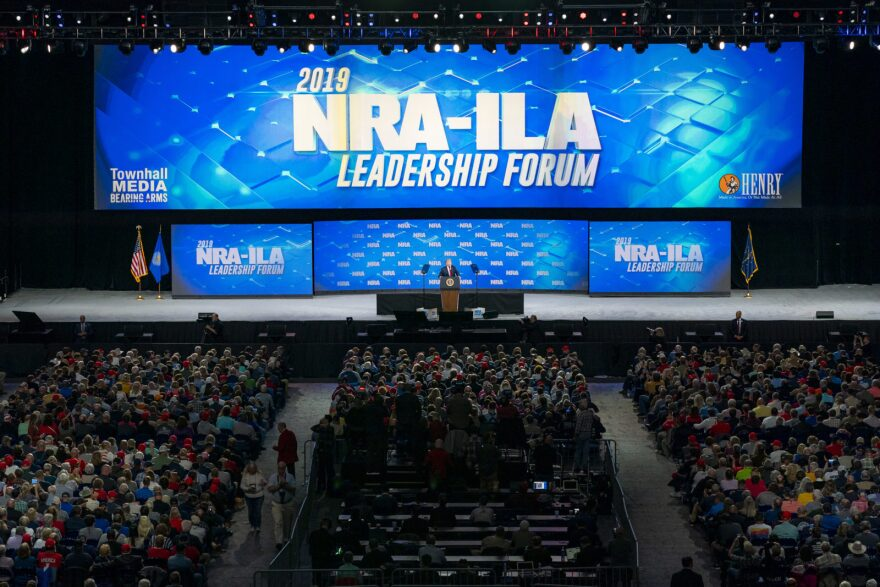 President Donald Trump addresses the National Rifle Association's annual convention in Indianapolis, Ind., April 26, 2019.