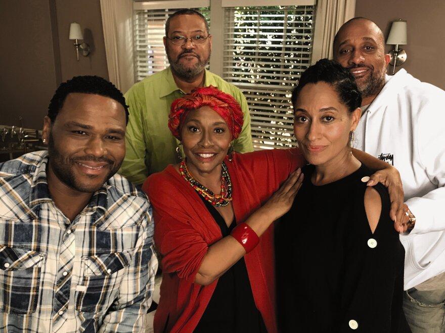 Anthony Anderson (left) sits with <em>Black-ish</em> cast members Jenifer Lewis, Laurence Fishburne, Tracee Ellis Ross and show creator Kenya Barris.