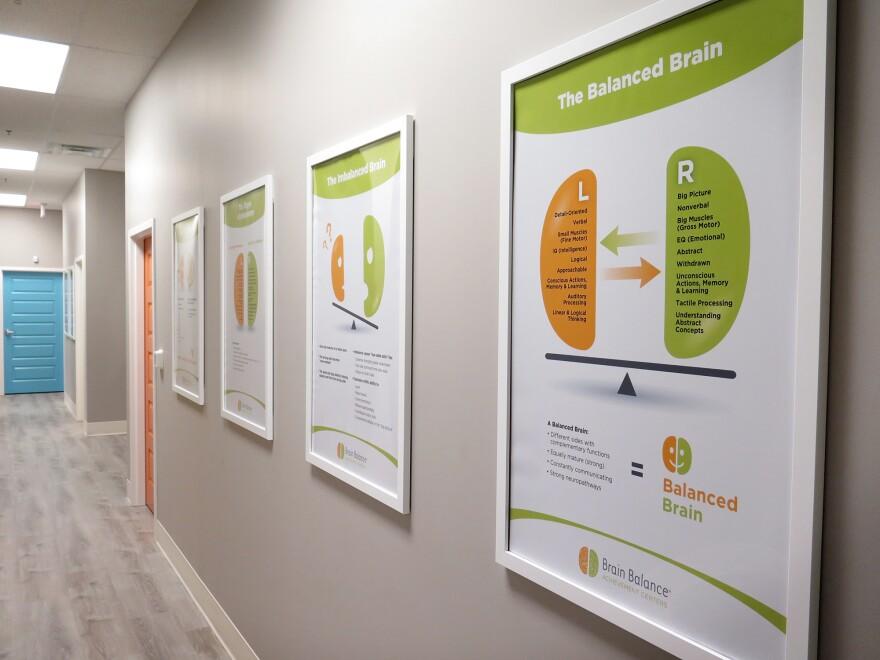 Posters in the hallway of a Brain Balance Center in Glen Allen, Va., describe how the program works.