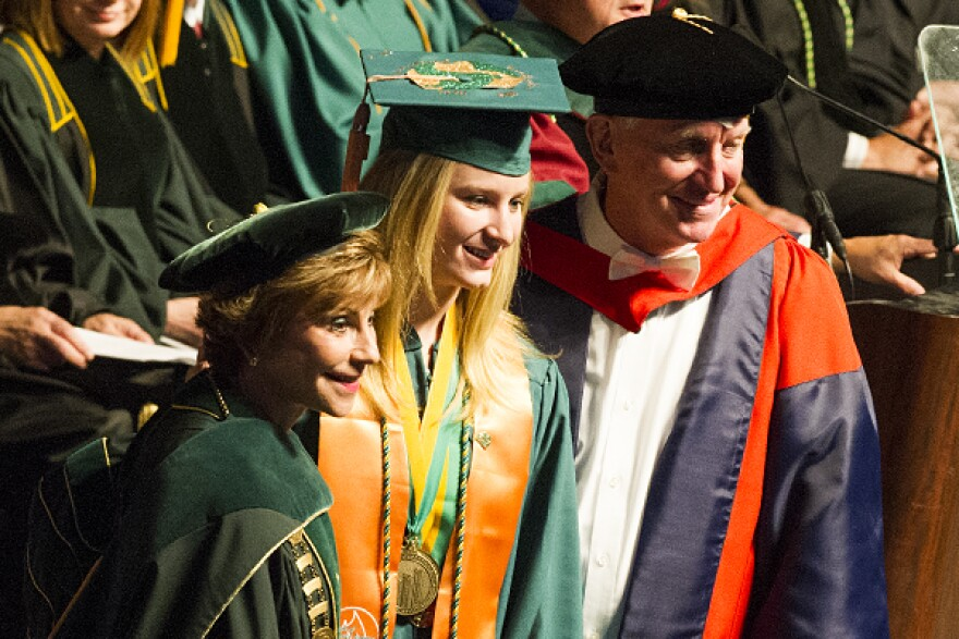 USF President Judy Genshaft, left, seen at a 2015 USF Health commencement ceremony, will preside over her last graduation ceremonies starting Thursday.