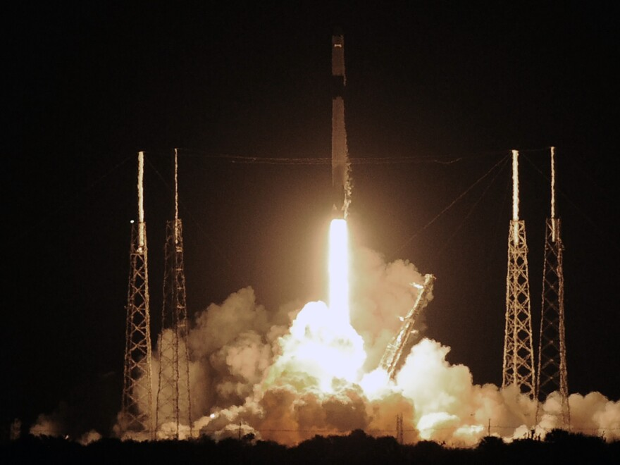 A SpaceX Falcon 9 rocket carrying more than 4,300 pounds of science and research, crew supplies and vehicle hardware to the International Space Station launches from pad 40 at Cape Canaveral Air Force Station in Florida. This is the final flight of SpaceX's first-generation Dragon cargo capsule.