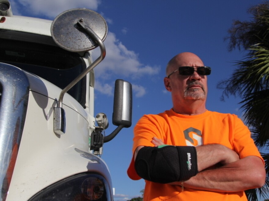 Safety driver Jeff Runions with one of Starsky Robotics' autonomous testing trucks.