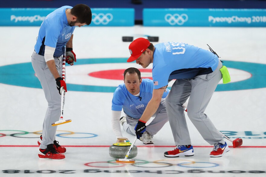 John Landsteiner (left), Tyler George and Matt Hamilton of the U.S. compete in the Curling Men's Semi-final against Canada during the Pyeongchang 2018 Winter Olympic Games on Feb. 22.