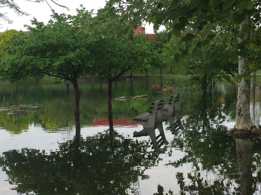 Heavy rainfall Saturday flooded the trail around Mueller Lake Park in Austin.