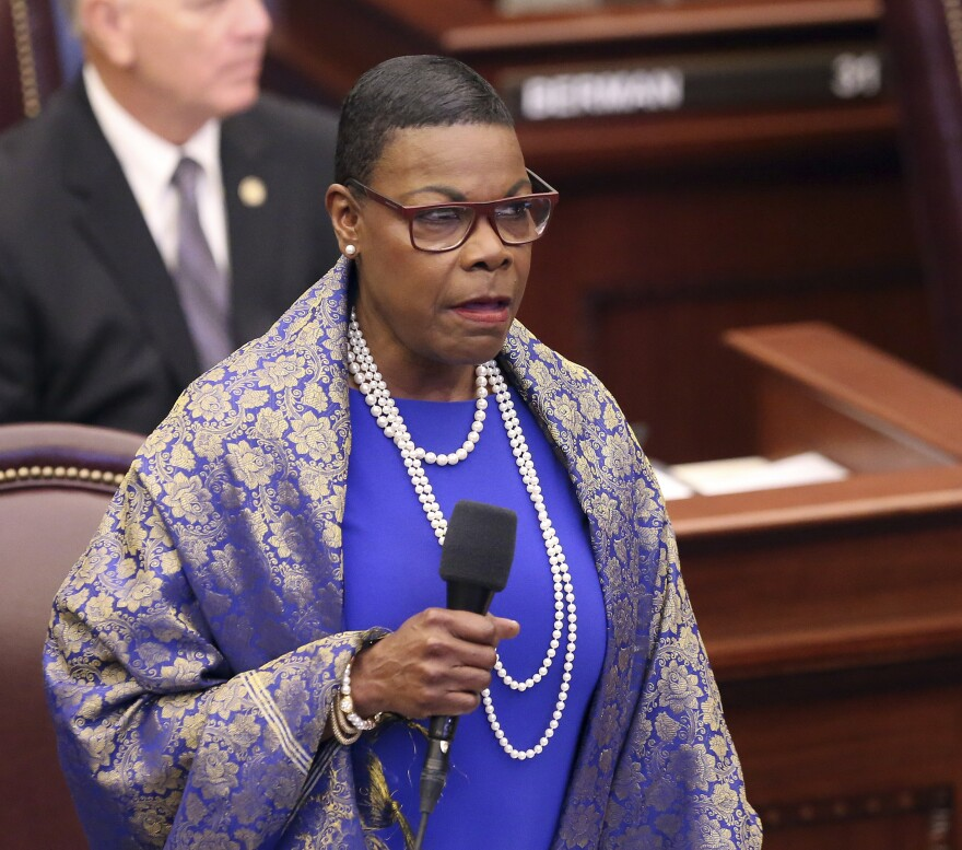 Sen. Audrey Gibson, D-Jacksonville, speaks during session Wednesday, March, 27 2019, in Tallahassee, Fla.