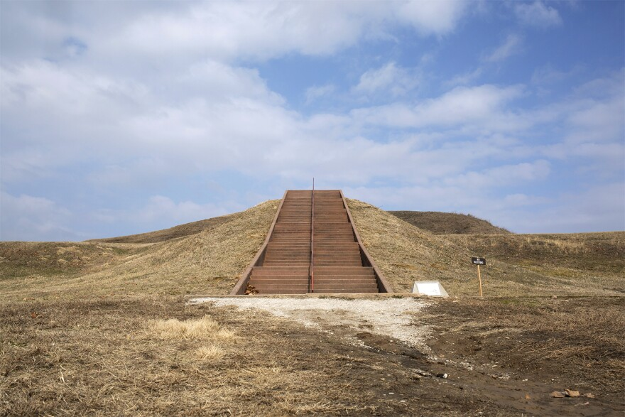 Monks Mound at the Cahokia Mounds State Historic Site in February 2019.