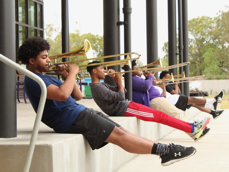Student musicians at Edna Karr High School rehearsed together for the first time in nearly eight months on Oct. 27, 2020.