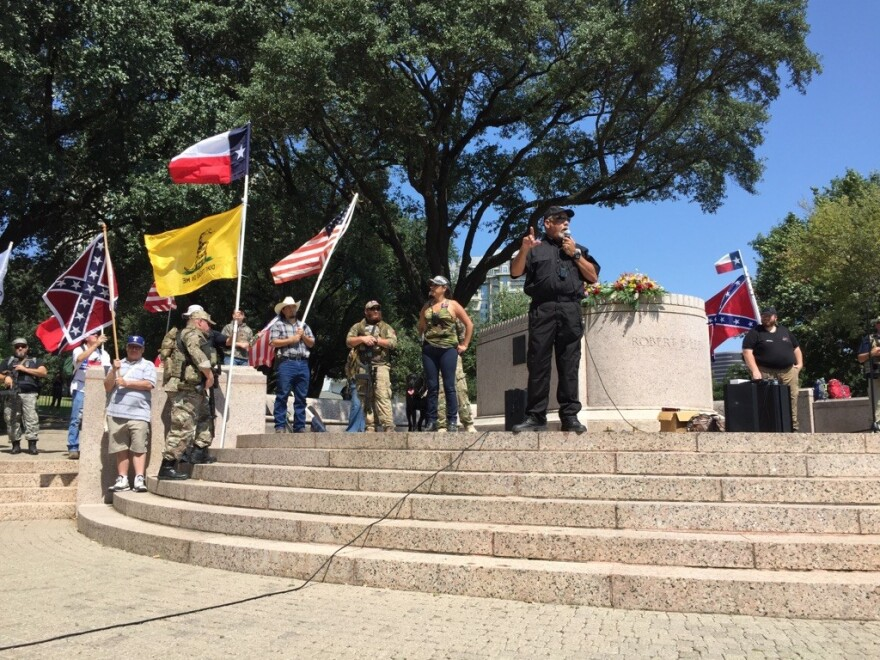 """The """"This Is Texas Freedom Force"""" gathered to oppose the removal of Robert E. Lee statue."""