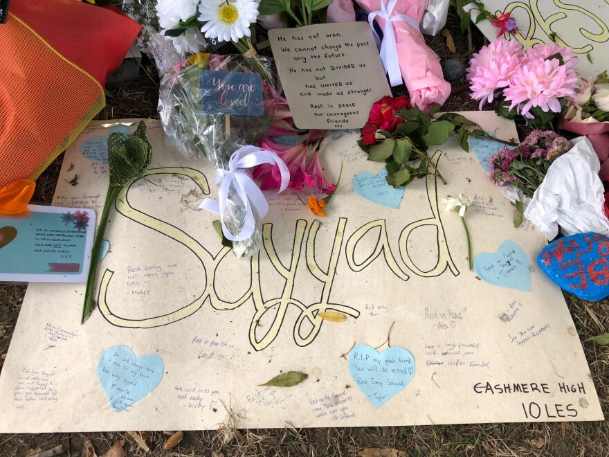 A handwritten sign is left for Sayyad Milne, 14, one of the victims of last week's mosque shootings in Christchurch, New Zealand. The sign was placed at a part in front of Al Noor Mosque.