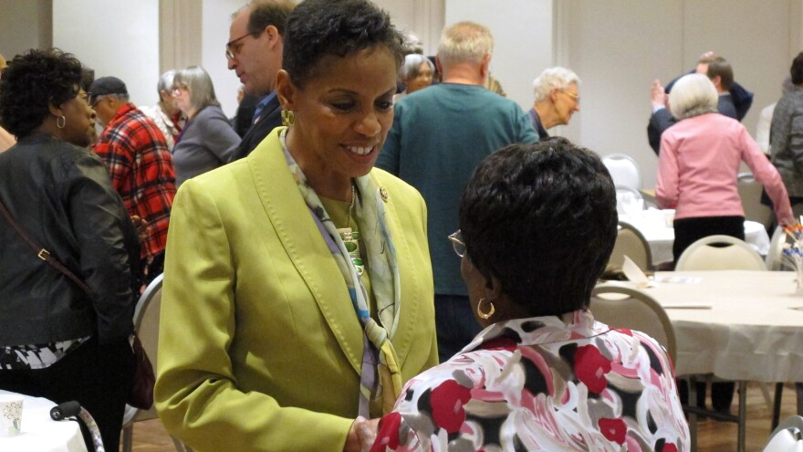 U.S. Senate candidate, Rep. Donna Edwards, M-Md., visits with voters at Leisure World in Silver Spring, Md.