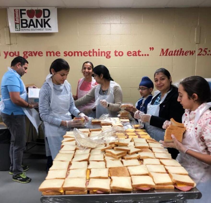 Some members of the Sikh Dharamsal temple volunteered at the San Antonio Food Bank (before the facemask requirement).