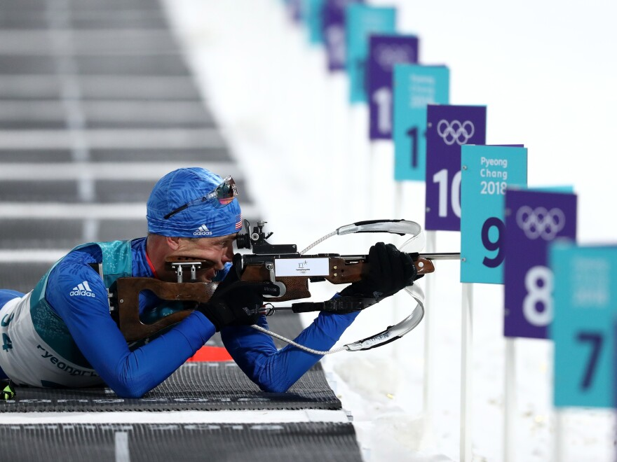 Tim Burke and other American biathletes spoke out about guns after the shooting in Parkland, Fla. Burke is seen here during the 10km Sprint Biathlon on Feb. 11 at the Pyeongchang Olympic Games.