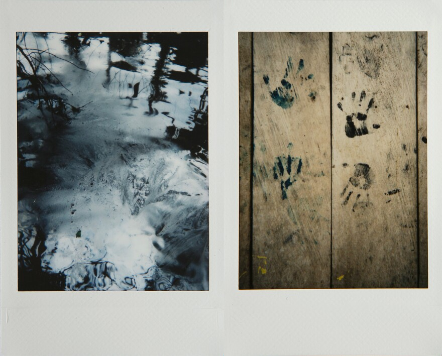 Left: Oil pollution in the rivers and lagoons of the Nariño region. The indigenous group Awá says people have been smuggling oil out of the area. Right: Children's painted hand prints on an indigenous house in Nariño.