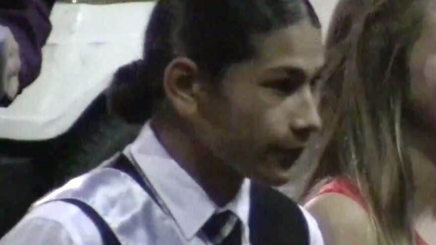 Jaylen Fryberg is seen during a homecoming celebration at Marysville-Pilchuck High School on Friday, Oct. 17, 2014, in this still frame made from a video. Students and others have identified Fryberg as the gunman who walked into his Seattle-area high school cafeteria Friday and opened fire, killing one person and shooting several others.