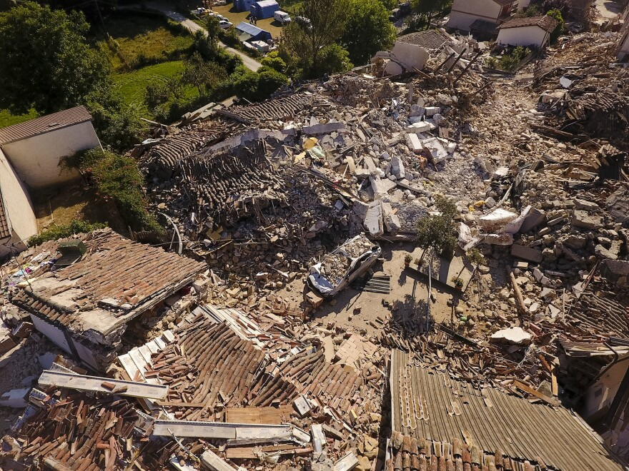 Aerial view of the village of Saletta in central Italy on Friday where a strong quake hit early Wednesday.