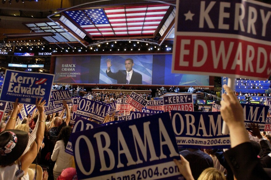 Barack Obama, then a little known state senator and candidate for U.S. Senate from Illinois, speaks during the 2004 Democratic National Convention in Boston.