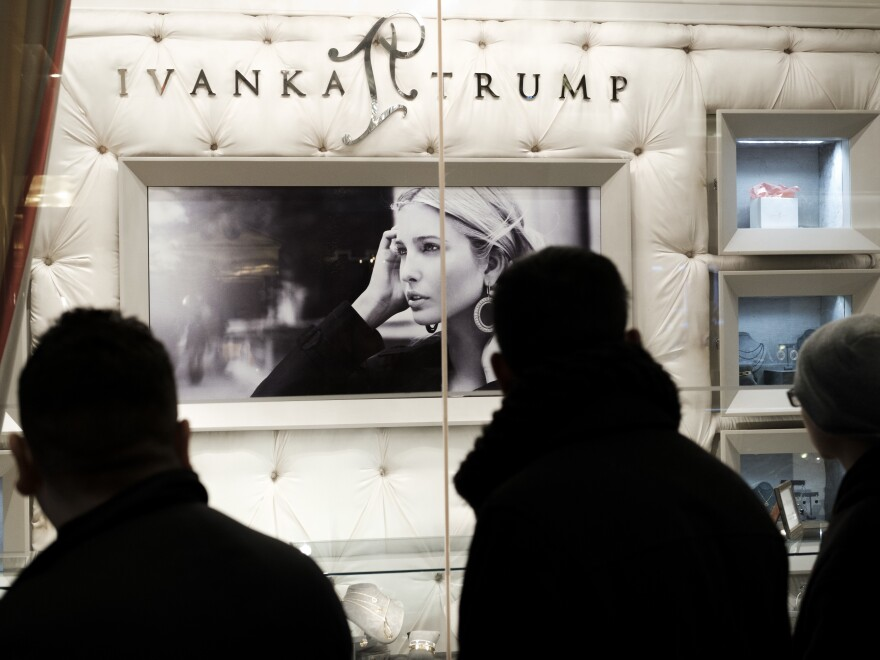 The Ivanka Trump Collection is on display in the lobby of Trump Tower in New York.