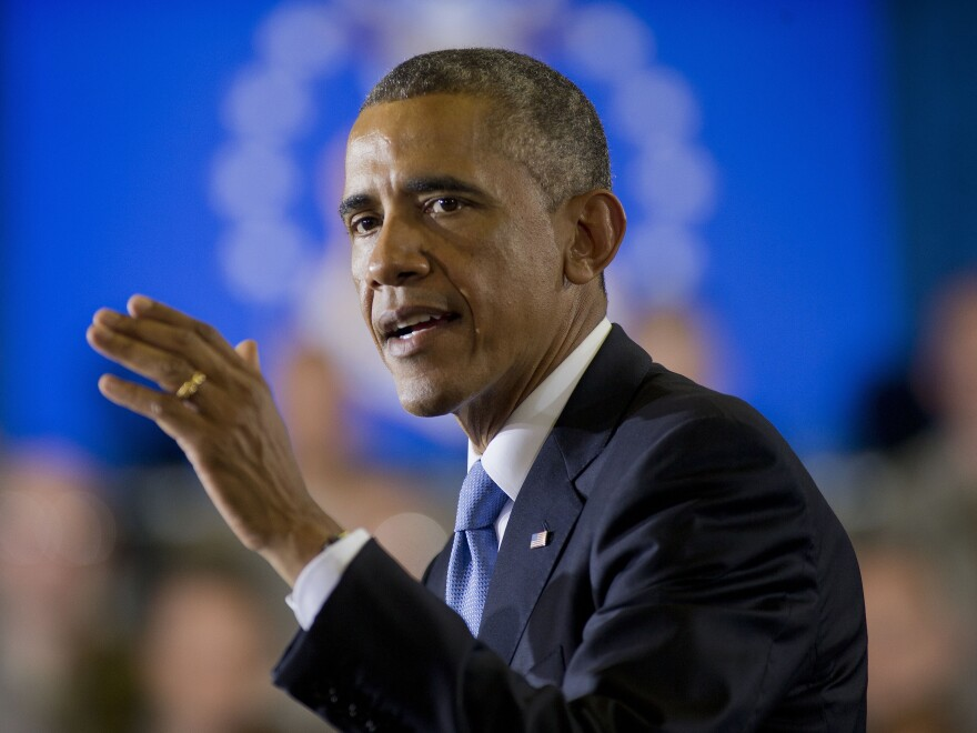 President Obama speaks at U.S. Central Command, at MacDill Air Force Base in Tampa, Fla., on Wednesday.