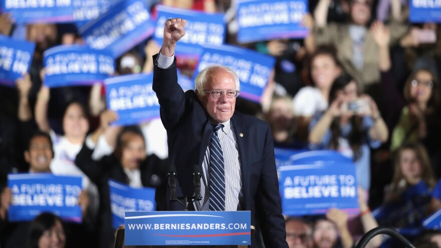 Democratic presidential candidate Sen. Bernie Sanders greets supporters at an election-night rally on June 7 in Santa Monica, Calif.