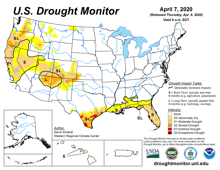 A map detailing the drought status of Florida, which is experiencing a moderate drought throughout most of the state and severe drought in parts of the panhandle.