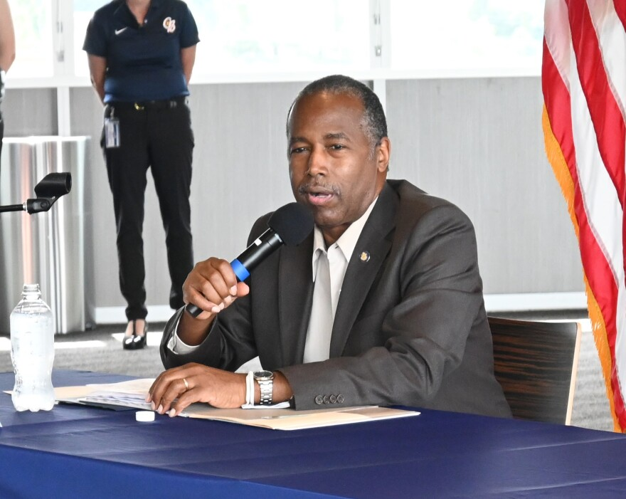 U.S. Housing and Urban Development Secretary Ben Carson spoke during a roundtable with local officials Thursday in Kannapolis.
