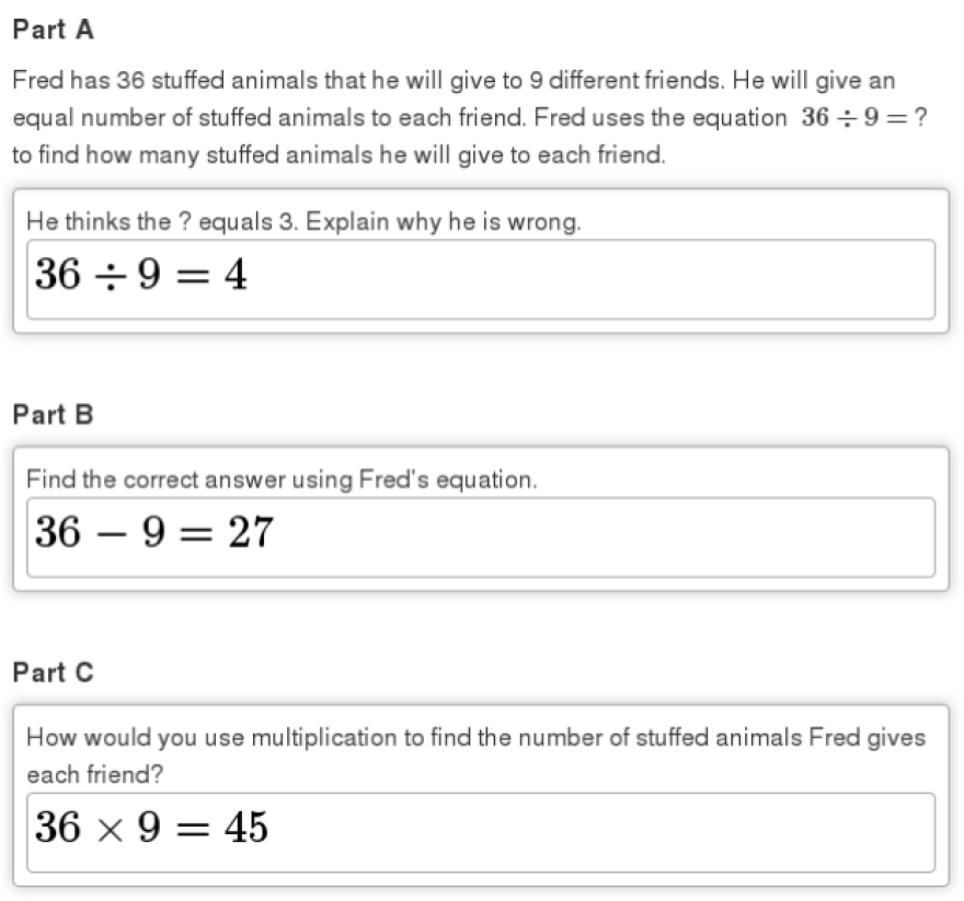 Sample answer to 3rd grade math test question.