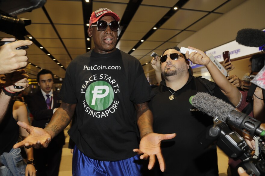"Former NBA basketball player Dennis Rodman and his agent Chris Volo arrive at Singapore's Changi Airport on Tuesday. Rodman has met both President Trump and Kim Jong Un and suggested as far back as 2014 that the two men should meet one another. ""It's a great day,"" he told CNN. ""I am here to see it. I'm so happy."""