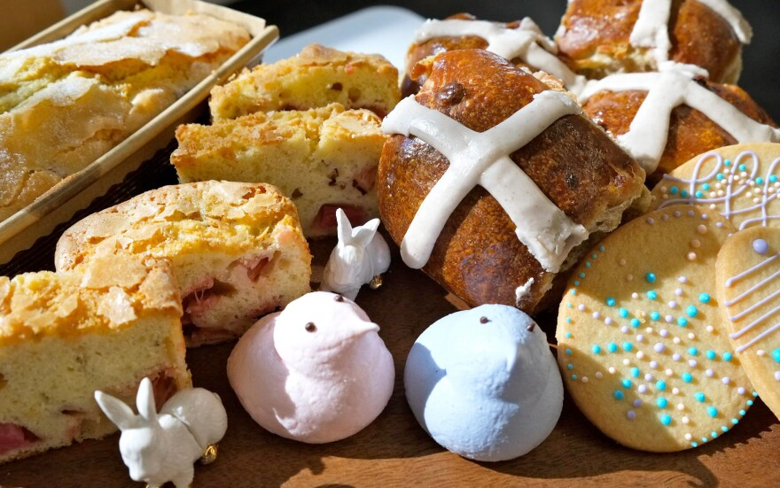 """Hot cross buns and other Easter treats from Flour Bakery in Boston. Flour sells the buns for about a month near Easter, but """"customers want them earlier every year,"""" executive pastry chef Nicole Rhode says."""