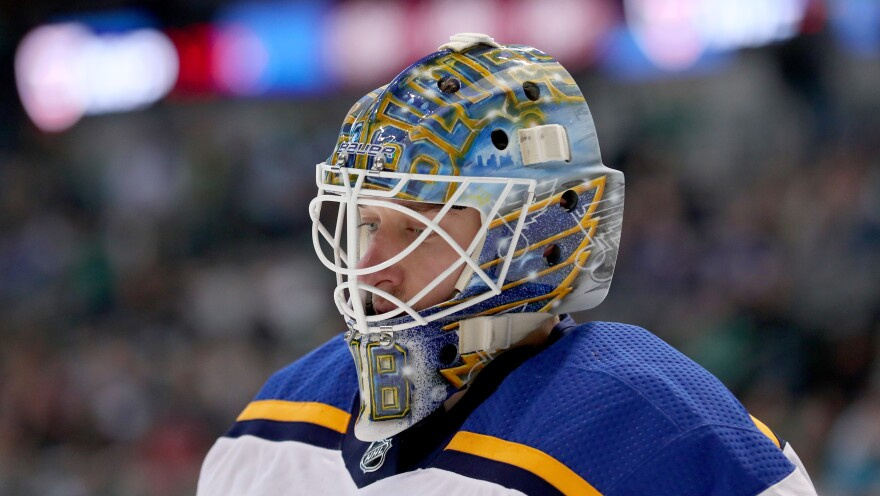 Jordan Binnington, goaltender for the St. Louis Blues, looks on during the Blues' playoff series with the San Jose Sharks. Binnington may be a rookie playing in his first Stanley Cup Final, but he has been taking part in a tradition that dates back decades.