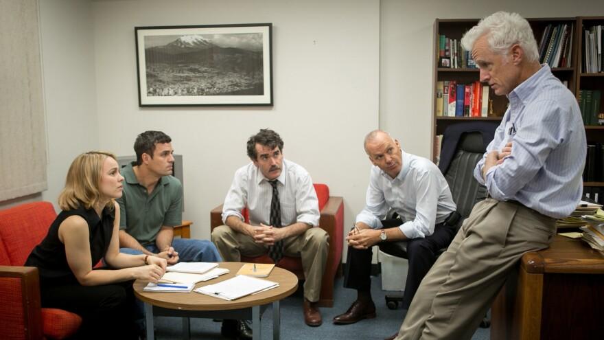 Rachel McAdams, Mark Ruffalo, Brian d'Arcy James, Michael Keaton and John Slattery play <em>Boston Globe</em> journalists in the film,<em> Spotlight</em>.
