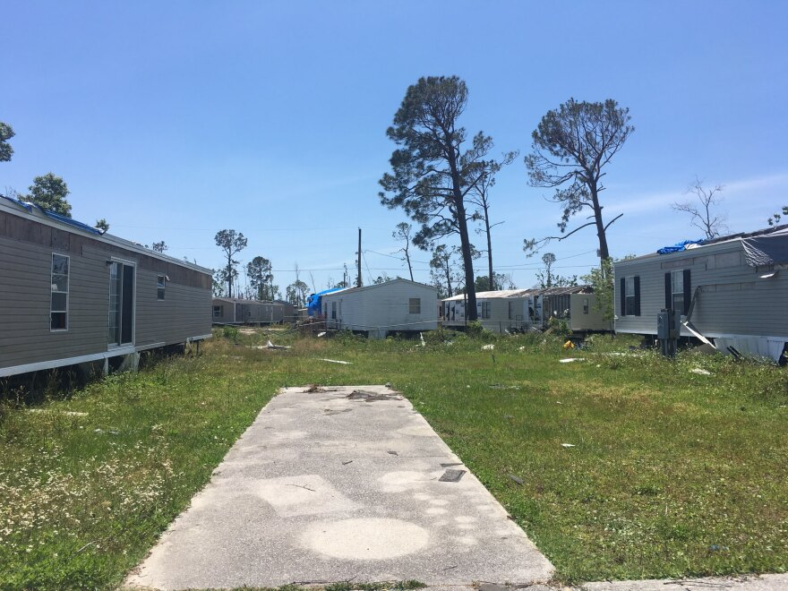 A community with damages homes