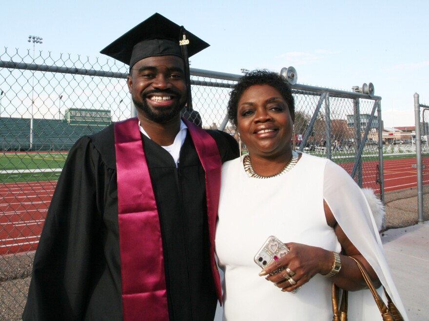Constance Garvie and her son, Linford Ocloo, were both elated that CMU was able to hold its graduation ceremonies in person. Ocloo plans to go on to future degrees and become a coach one day.