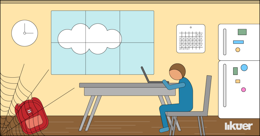 Illustration of a student at a table with a backpack gathering dust.