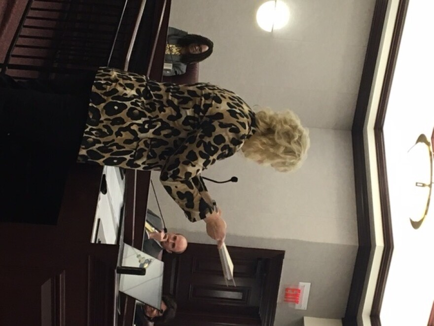 Deborah Franklin, director of operations for Florida Living Options Inc., shows state senators one patient's unpaid claim file.
