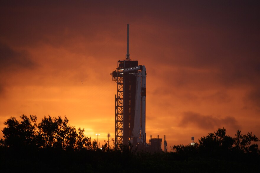 Ahead of tomorrow's flight the SpaceX Falcon 9 rocket with Crew Dragon spacecraft sits on the launch pad at Launch Complex 39A at NASA's Kennedy Space Center in Florida.