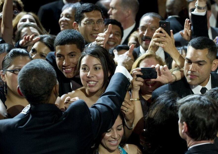 <p>President Obama greets attendees after speaking during the Congressional Hispanic Caucus Institute's 34th Annual Awards Gala in Washington last month. The administration has been taking steps to win back the support of Latino voters. </p>