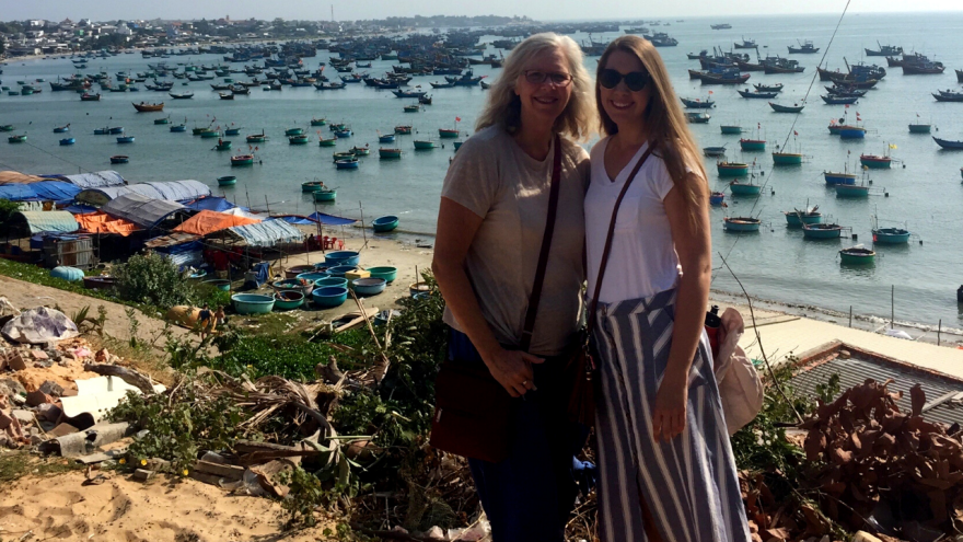 Emily Glazier (right), poses with her mother while on vacation in Vietnam.