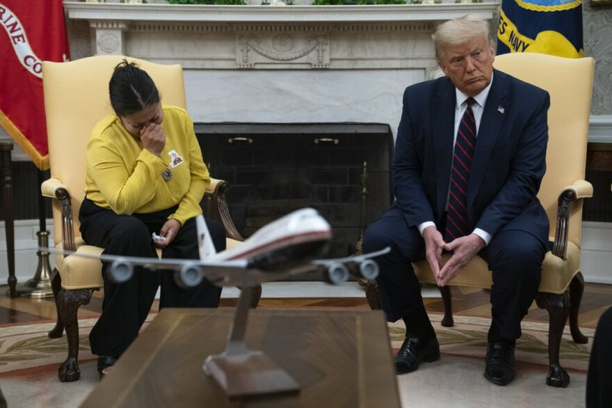 Gloria Guillen, the mother of slain Army Spc. Vanessa Guillen, meets with President Donald Trump in the Oval Office of the White House on Thursday.