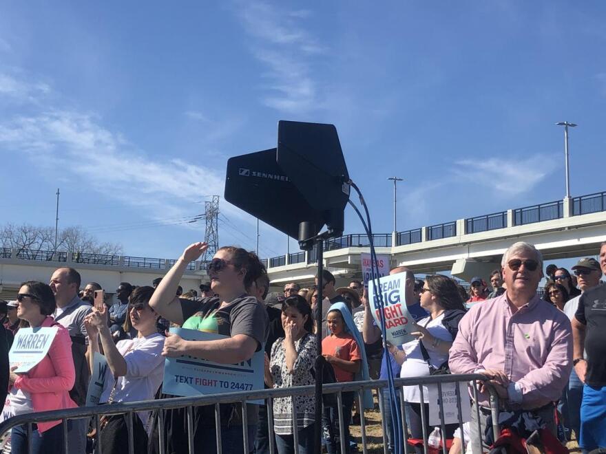 Supporters of Massachusetts Sen. Elizabeth Warren watch as the candidate speaks at North Little Rock's North Shore Riverwalk Park on Saturday Feb. 29.