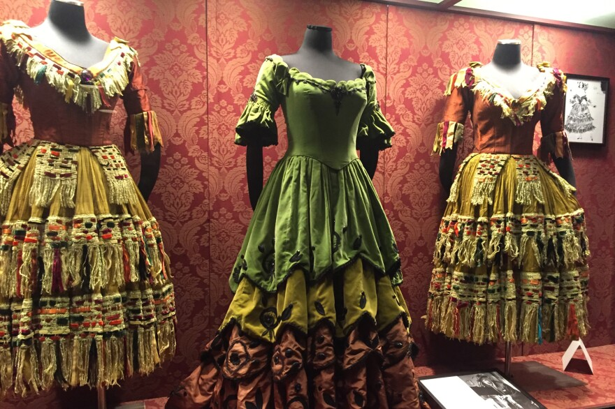 """Costumes from the opera """"La Traviata"""" by Giuseppe Verdi. (Robin Young/Here & Now)"""