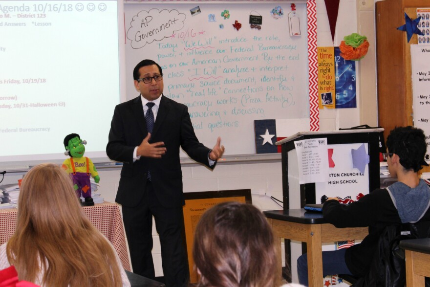 State Rep. Diego Bernal speaks to students at Churchill High School Oct. 16, 2018.