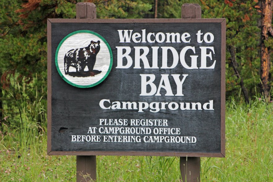 Welcome sign for Bridge Bay Campground in Yellowstone National Park
