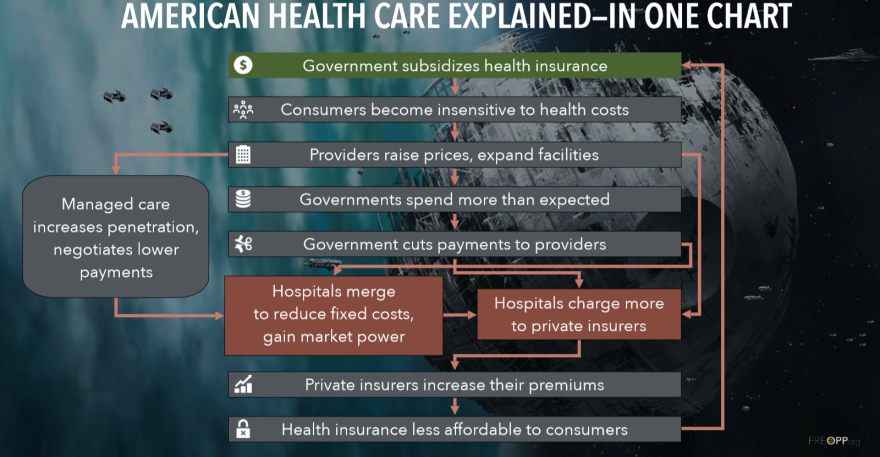 Part of Roy's presentation in Sarasota included an attempt to explain how the American health care system got to its current state in one chart.