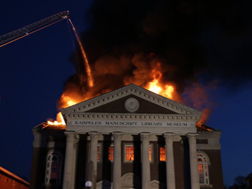 Firefighters battled a massive fire at the St. Louis Karpeles Manuscript Library Museum on Tuesday. The museum houses some of collector David Karpeles' collection of original manuscripts, one of the largest in the world.