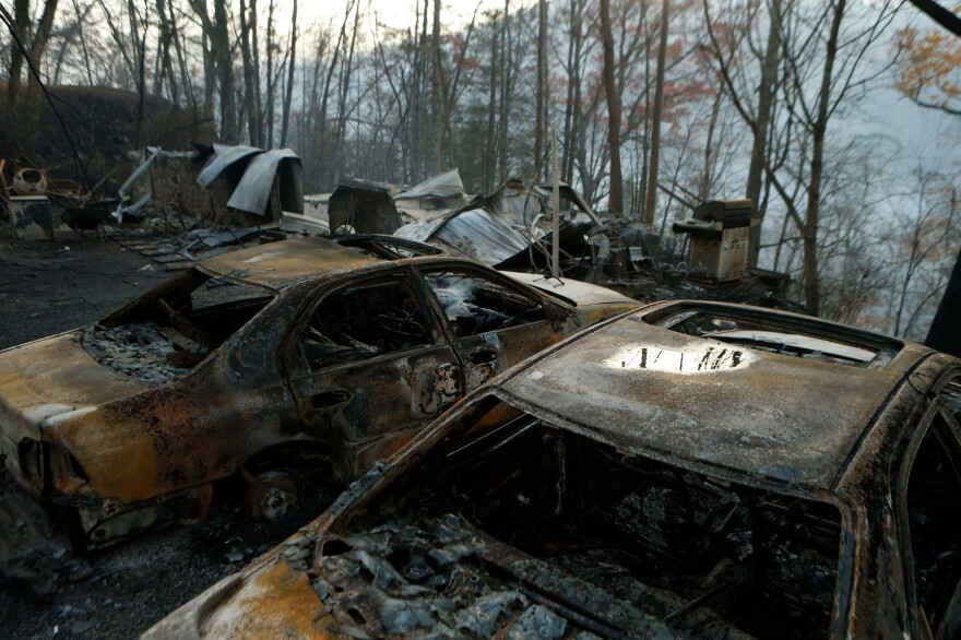 The remains of cars in Gatlinburg. Fire has destroyed more than 150 homes and businesses in Sevier County.