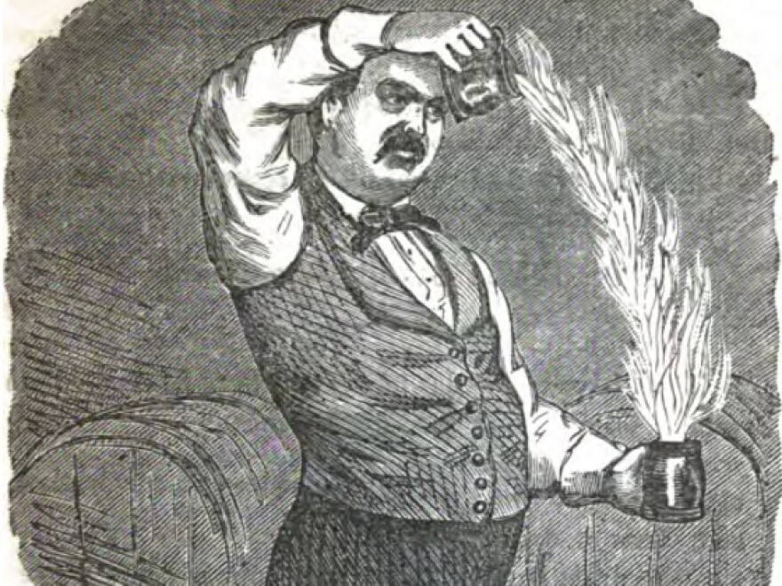 Jerry Thomas authored the first bartenders guide in 1862. His signature drink was the Blue Blazer, a cocktail he'd light on fire and pass back and forth between two glasses to create a blazing arch.